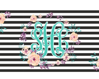 Floral Monogrammed License Plate