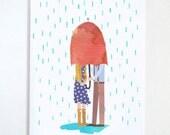 Rainy Day Umbrella Couples love card: I'm umbrella your spell