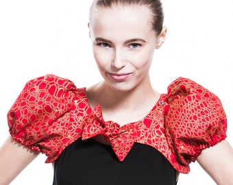 Festive puff sleeves bolero made of handprinted elastic fabric - red-gold - SALE!
