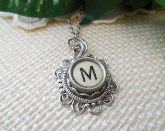Typewriter Key Jewelry ~ Initial M ~ Personalized Letter Necklace