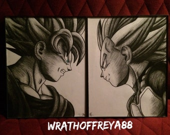 RESERVED ORDER: INSTAPHIL1225 - Prince Vegeta & Son Goku - DBZ Fan Art Set Includes Frames