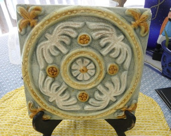 Vintage Italian Hand Painted Vintage Decorative Tile Pottery in Greens