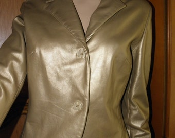 Hugo Buscati Gold Leather Vintage Crop  Jacket, sz S