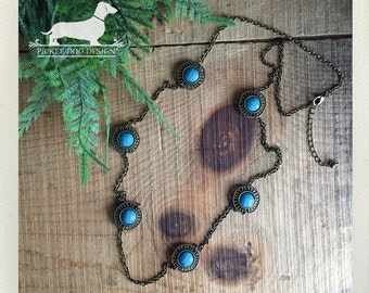 Encircled Turquoise. Necklace -- (Vintage-Style, Blue, Antiqued Brass, Gypsy, Rustic Chic, Long Necklace, Birthday Gift For Her Under 15)