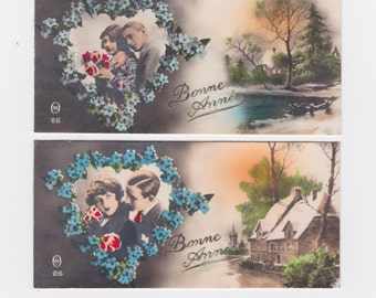 2 vintage French Christmas Bonne Année greetings cards - 1910's 1920's