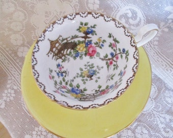 Vintage Aynsley yellow mis-matched teacup set, Pagoda teacup with yellow Aynsley saucer, English Garden Tea Shop tea, excellent condition