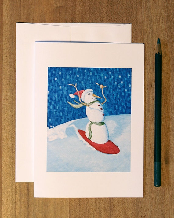 Holiday Cards. Christmas Cards. Surfing Snowman. Blank Folded Card. Waves.