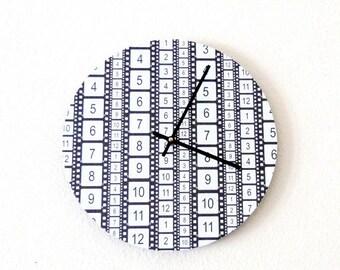SALE, Retro Wall Clock,  Film Strip, Home and Living, Decor & Housewares, Home  Decor, Black and White Clock, Homespunsocietry