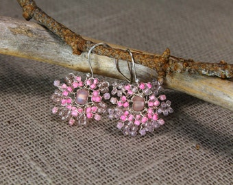 Marguerite, rose earrings, beaded earrings, birthday gifts,summer, spring, gifts to her