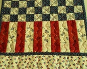 QUILTED Stars and Stipes PATRIOTIC AMERICANA Wall hanging table runner Memorial Day Flag Day 4th of July Labor Day