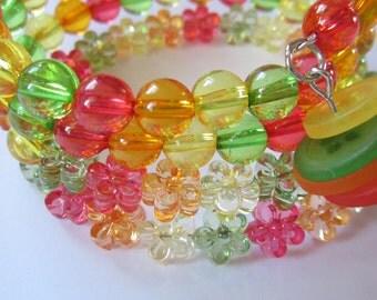 Fresh and Juicy Citrus Twist Memory Wire Bracelet