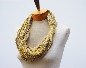 Yellow Scarf - Necklace Scarf - Crochet Infinity Scarf - Crochet Rope Scarf - Crochet Cowl Scarf - Chunky Scarf - Gift Idea