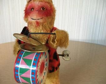 Vintage Wind-Up Monkey | Toy | 1950's | Musical Toy | Japan | Novelty