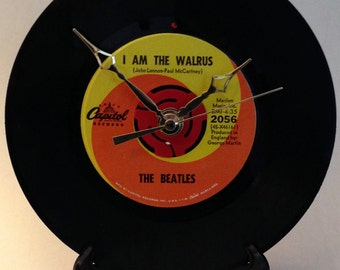 "Recycled BEATLES 7"" Record / I Am The Walrus / Record Clock"