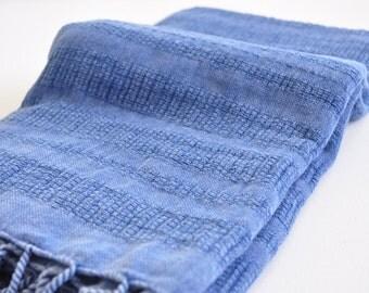 Turkish Towel Peshtemal towel Cotton Peshtemal Stone washed wicker striped Blue Towel