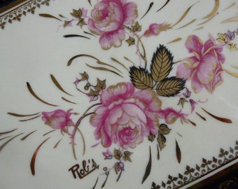 Limoges Tray, Hand Painted,  Signed. Circa 1970's