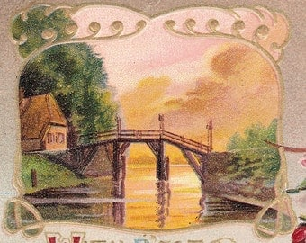 "Ca. 1909 ""Bridge and Flowers"" Birthday Greetings Postcard - 44"