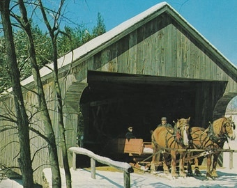 """Ca. 1968 """"Covered Bridge"""" Dummerston, VT Topographical Picture Postcard - 736"""