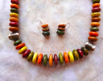 SALE!  24 Inch Chunky Fall Colored Howlite Disk Necklace with Earrings