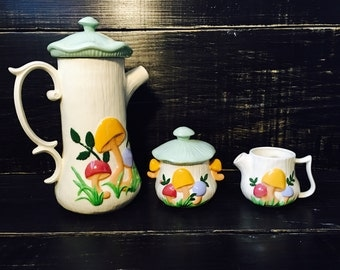 Hand Painted Mushroom Pitcher and Creamer set- Arnels