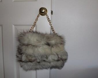 Vintage 1940's fur purse chain handle