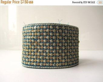 ON SALE Blue sequenced gold trim ribbon India ribbon nr. 42
