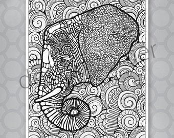 INSTANT DOWNLOAD Exotic Zentangle Elephant Coloring Page