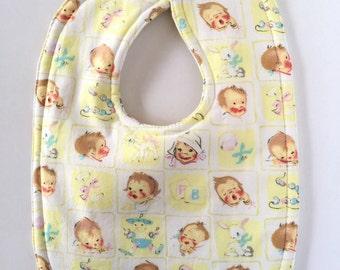 Retro Baby Bib - Baby Girl Bib - Boy Bib - Gender Neutral Bibs - Dribble Bibs - Drool Bibs - Toddler Bibs - Vintage Baby - Unique Baby Gifts