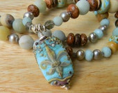 French Country Rustic - Fleur de Lis Lampwork Necklace - Turquoise Brown Shabby Chic Beaded Necklace