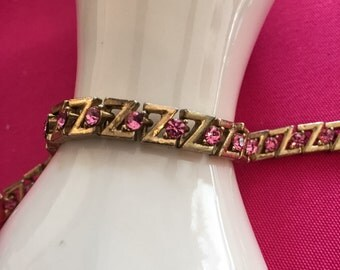 Pink Rhinestone Tennis Bracelet Vintage Jewelry WINTER SALE