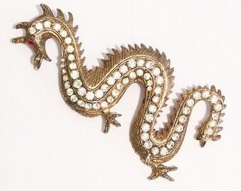Large Dragon Rhinestone Pin, 1960s Vintage Jewelry, CHRISTMAS SALE