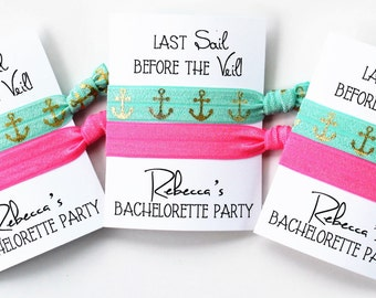 Bachelorette Party Hair Tie Favors & Gifts / Last Sail Before the Veil Bachelorette Hair Ties / 2-ct CUSTOMIZED Hair Ties / Nautical