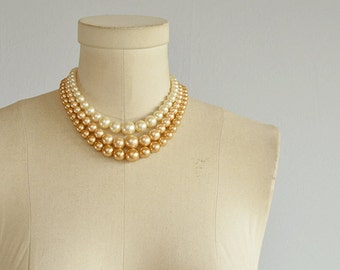 Vintage 50s Graduated Pearl Necklace Set / 1950s Beige Cream Pearl 3 Strand Choker Jewelry