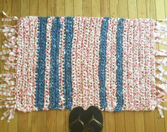 Crochet Hand Made Throw Rug Pink and Denim Blue