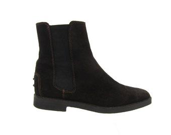 SALE % Vintage Slip Ons// Dark Brown Suede Chelsea Ankle Boots