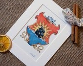 Catan print - vintage Settlers of Catan Shield  as seen on the First American Edition Settlers of Catan boxes - gift for Catan fan.