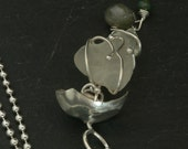 Sea Glass and Labradorite Jelly Fish Necklace in Sterling Silver