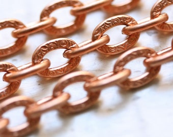 6ft Large Textured Copper Chain Flat Link Cable 7mm x 10mm, Patterned Copper Chain, Chunky Chain