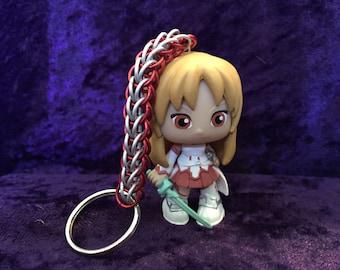 Custom, handmade Asuna Sword Art Online chainmaille keychain