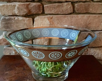 Mid Century Glass Bowl, Atomic Shape Ornamented with Turquoise on Gold