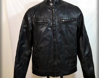 SONOMA Faux Leather Motorcycle Cafe Racer Biker JACKET Mens Size M Black