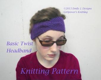 Basic Twist Headband Knitting Pattern, Turban Style, Easy Knit, Girls & Women, Worsted Yarn