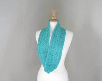 Cotton Infinity Scarf, Aqua Turquoise Green, Knit, Cowl Loop Circle Eternity, Lace, Sparkly
