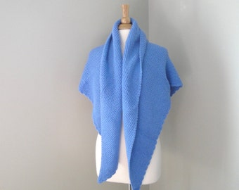 Large Knit Shawl, Blue, Prayer Shawl, Cozy Shawl Wrap, Hand Knit Knitted, Triangle, Made in USA