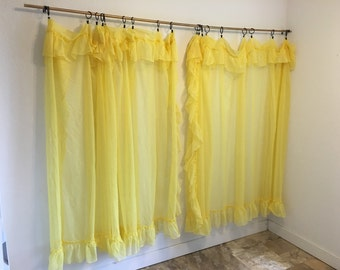 Vintage Curtains, yellow curtains, sheer curtains, ruffled curtains, yellow net curtain pair