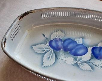 Vintage Enamel Dish Bowl White Navy Blue Plums Enamelware Unusual