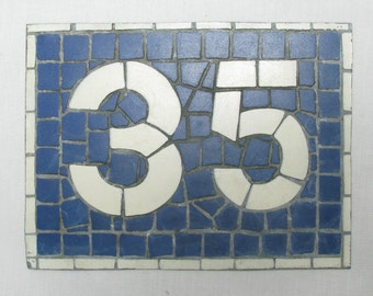House Number Plate No. 35, Original French Blue and White Sign, Mosaic Signs, French Signs, French House Number Plate, Blue and White Signs