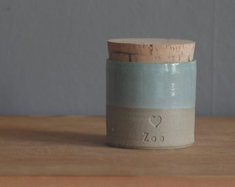 pet urn. straight shaped urn with paw print stamp optional. modern simple urn for ashes. funerary urn. turquoise on sand stoneware