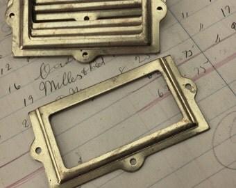 Vintage brass label holders for drawers - antique drawer pull tag holder - card catalog label holder - apothecary drawer hardware