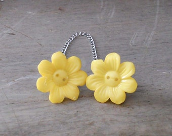 Sweater Pins, Flower Pins, Flower Collar Pins, Yellow Flower Sweater Pins, One of a Kind